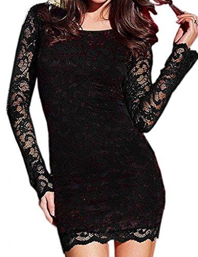 Bigood Robe de Cocktail Femme Dentelle Sexy Dos Nu Soirée Noir
