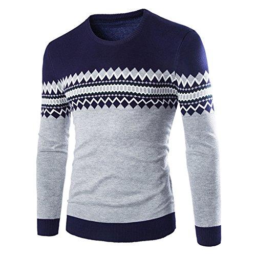 Herren Shirt Strickshirt Pullover - Juleya Langarm Strick Sweatshirt Classic Tshirt Casual Tops Bluse Lammwolle Basic Shirts Slim Fit Sweatshirts Gelb Dunkelblau Grau Rot S M L XL (Lammwolle Überprüfen)