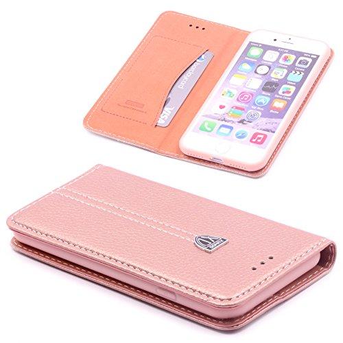[ iPhone 7 ] Handy Schutz Tasche Noble Series Cover für [ iPhone 7 ] edle Book Style Hülle mit Aufstellfunktion und Kartenfach ScorpioCover rose gold