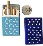 2x Zigarettenbox aus Silikon - Sterne dunkelblau und hellblau - Zigarettenhülle - Zigarettenetui - passend für eine Zigarettenschachtel in Standardgröße - auch passend für die neuen 21er Schachteln