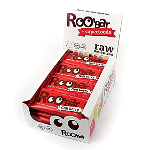 Roo'bar Organic Goji Berry Raw Superfood Bar 30g (Pack of 20)