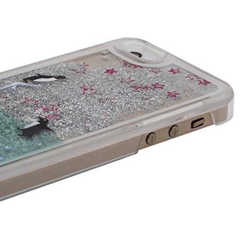 Apple iPhone 5 5S SE Coque, Mignonne Sauteur Dauphin Motif Écoulement sable & Étoiles Transparent Liquide Conception Dur PC Case Housse de Protection A2