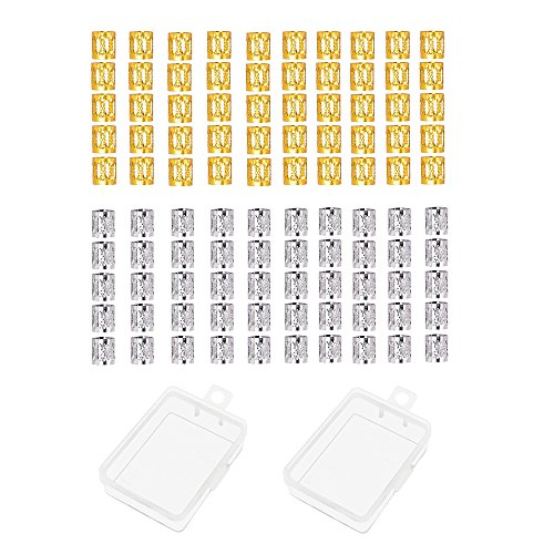 Aluminium, für Haarschmuck, mit Kunststoffbehälter, goldfarben und silberfarben, 100 Stück ()
