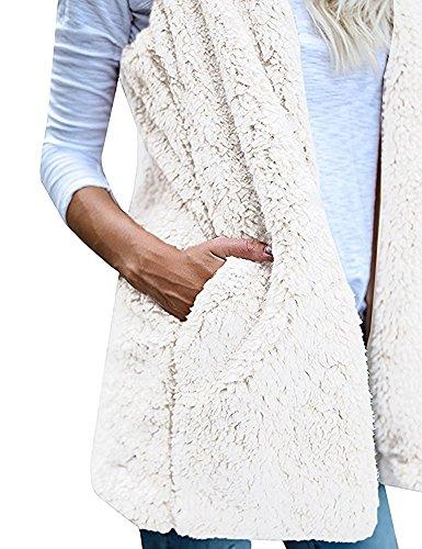 Minetom Donna Caldo Gilet Della Peluche Felpa Senza Maniche Giacca Con Cappuccio Casual Sherpa Giubbotto Cappotto Outwear Bianco
