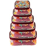 atorakushon® Fabric Multi color Multipurpose Make Up Pouch Cosmetic Jewellery Organizer Necklace Pouches For Women and Girls Set of 5