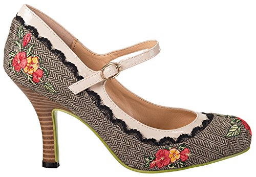 Dancing Days GIRL LOVES ME Herringbone TWEED Flower HIGH HEELS Pumps Rockabilly Braun / Beige