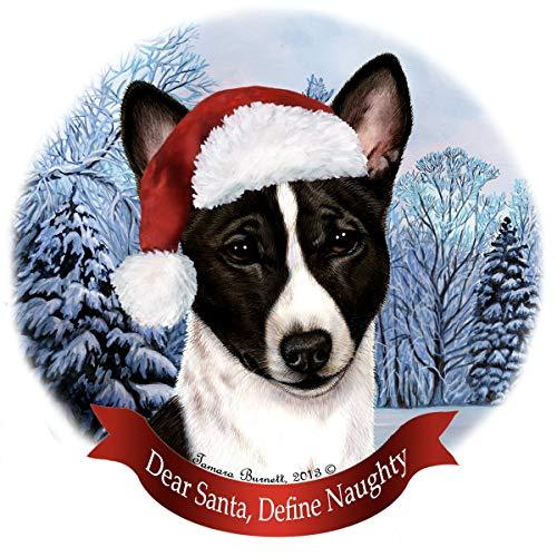 Holiday Pet Gifts Basenji Dekofigur Weihnachtsmannmütze, Porzellan, Schwarz/Weiß