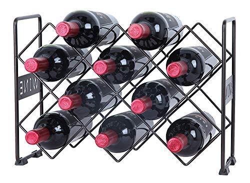 AX Crafts Weinregal für 10 Flaschen mit Weinmuster, Weinflaschenhalter, freistehend,...
