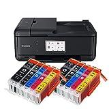 Canon Pixma TR8550 TR-8550 Farbtintenstrahl-Multifunktionsgerät (Drucker, Scanner, Kopierer, Fax, USB, WLAN, LAN, Apple AirPrint) Schwarz + 10er Set IC-Office XXL Tintenpatronen 580XXL 581XXL