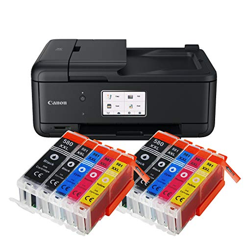 Canon Pixma TR8550 TR-8550 Farbtintenstrahl-Multifunktionsgerät (Drucker, Scanner, Kopierer, Fax, USB, WLAN, LAN, Apple AirPrint) Schwarz + 10er Set IC-Office XXL Tintenpatronen 580XXL 581XXL - Canon Pixma Office All In One