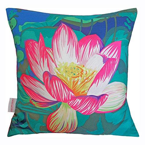 Chloe Croft London Kissen Waterlily naturschaum, Pink/Blau/Grün/Schwarz/Gelb -