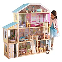 KidKraft 65252 Majestic Mansion Wooden Dolls House with Furniture and Accessories Included, 4 Storey Play Set for 30 cm/12 Inch Dolls