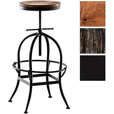 CLP Sgabello STRONG, stile industriale, mix di legno e metallo, rotondo, altezza della seduta regolabile in altezza (ca. 70 - 90 cm). nero
