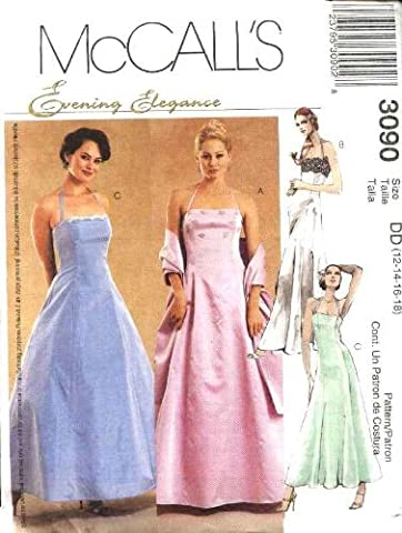 McCall's Sewing Pattern 3090 Misses Size 12-18 Evening Gown Formal Prom Halter Full Skirt Dress by McCall's