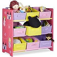 Relaxdays Kinderregal FUNNY mit Prinzessinnen-Motiv, Aufbewahrungsregal mit 9 faltbaren Stoffboxen, HBT: ca. 63 x 65 x 30 cm, rosa preisvergleich bei kinderzimmerdekopreise.eu