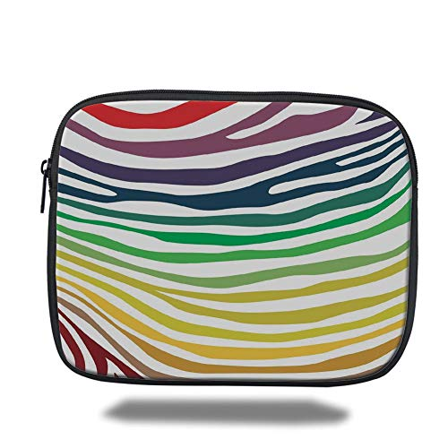 Tablet Bag for Ipad air 2/3/4/mini 9.7 inch,Zebra Print,Colorful Zebra Stripes Pattern in Cheering Rainbow Color Modern Style Art Decorative,Red Yellow Green,Bag -