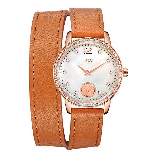 JBW Savannah Reloj DE Mujer Diamante Cuarzo 20MM Correa DE Cuero J6324B