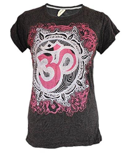 Yoga Tees - Omtimistic Damen Hindu Om Symbol T-Shirt Grau