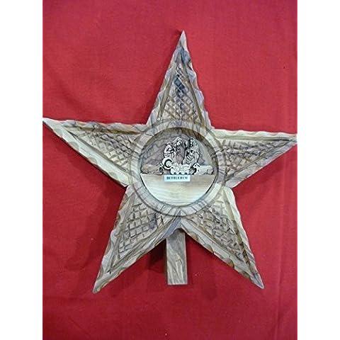 Estrella de madera de olivo de Bethlehem Natividad escena mano tallada en Tierra Santa