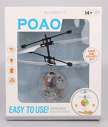 POAO RC Fliegender Ball,Mini Flugzeug-Hubschruber,Infrarot Induktionshubschrauber Ball Spielzeug (Disco Lichter) - 7