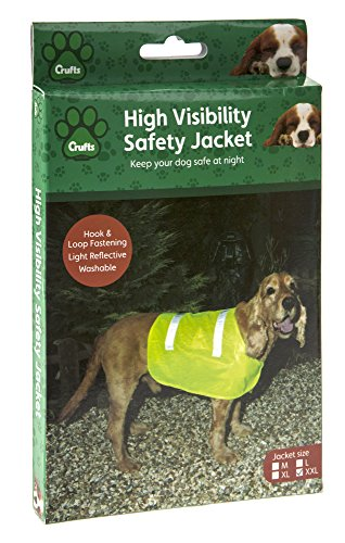 Chien Chien Sicherheitsweste Größe XXL, Jagd Hundebekleidung in Gelb, Schutzweste für Hund, Rückenlänge ca. 30 cm