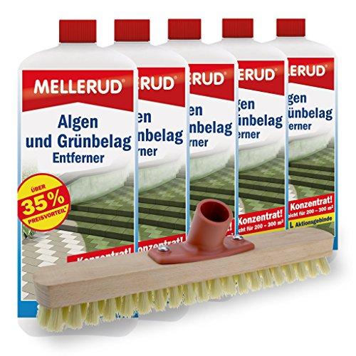 Mellerud 5er Pack Algen und Grünbelag Entferner (5 x 2 Liter) inkl. Schrubber