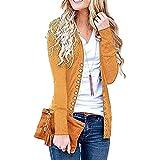 Cayuan Strickcardigan mit Knopfleiste Damen Langarm Slim Strickjacke Cardigan Outwear Freizeit Herbst Gelb