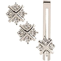 Tripin silver unique shaped cufflink set with diamonds crystals with matching tie pin for men in a gift box.