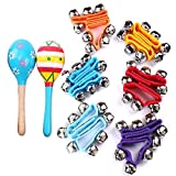 Musical Toys Rhythm Band Wrist Bells Value Pack, Assorted colors (Set of 12 + 2 Maracas) by Ziyier G & E