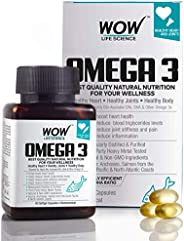 WOW Omega-3 Fish Oil Triple Strength 1000mg (550mg EPA; 350mg DHA; 100mg Other Omega 3 Fatty Acids) - 60 Capsu