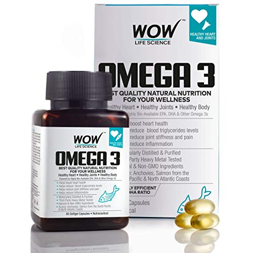 WOW Omega-3 Fish Oil Triple Strength 1000mg (550mg EPA; 350mg DHA; 100mg Other Omega 3 Fatty Acids) – 60 Capsules