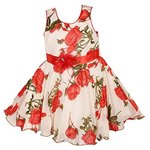 Wish Karo Baby Girl's Net Wear Frock (12 - 18 Months, Tomato Red)