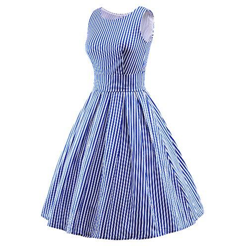 LUOUSE Robes Vintage 1950's Audrey Hepburn robe de soirée cocktail, bal style années 50 Rockabilly Swing V047-bluestripe