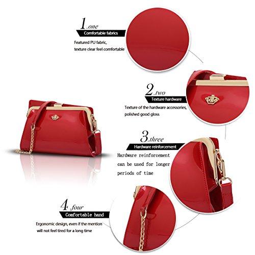 Sunas Il nuovo raccoglitore superiore superiore del sacchetto di spalla del cuoio di vernice delle donne di modo delle borse delle donne di modo rosso