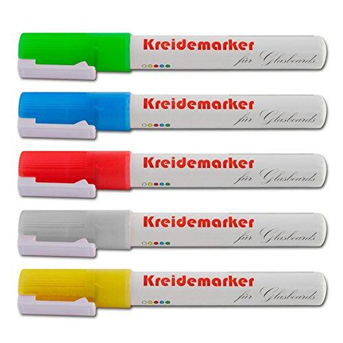 Kreidemarker im 12er-Set von Office Marshal®   abwischbar   verschiedene leuchtstarke Farben (weiß)