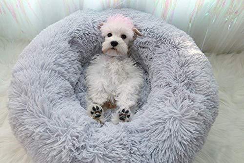 Deluxe Haustierbett für Hunde und Katzen,Cat Bett Für Katzen Und Kleine Donut-Nist-Höhlenbett für kleine, mittelgroße und große Hunde,Donut für Katzen,Welpen und kleine Hunde-grau-50*50*20cm -