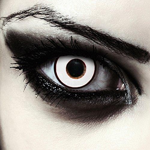 """Lentillas de color blanco para Halloween zombie lentillas sin dioprtías / corregir + gratis caso de lente """"Zombie Eye"""""""