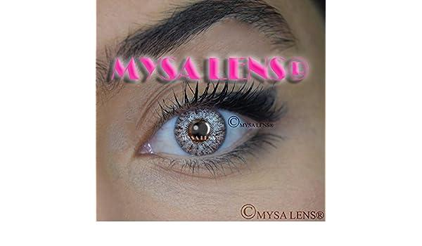 f6af27722c9b24 MYSA LENS® Lentilles De Contact De Couleur Fantaisie Crazy Lens Cosplay  Yeux Gris Sterling S3-540   Sterling Gray 3T + Avizor Solution  Multifonctions Pour ...