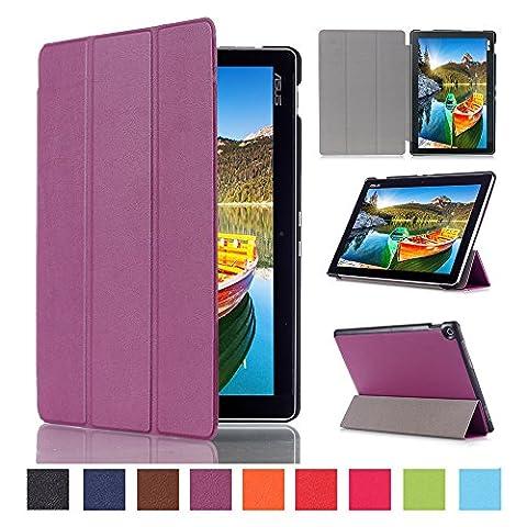 WindTeco Étui ASUS ZenPad 10 Z301MFL / Z2301ML / Z300M / Z300C - Etui Housse Ultra Mince et Léger à Rabat avec Support et Fonction Réveil / Sommeil Automatique pour Tablette ASUS ZenPad 10 Z301MFL / Z2301ML / Z300M / Z300C / Z300CG / Z300CL 10.1 Pouces, Violet
