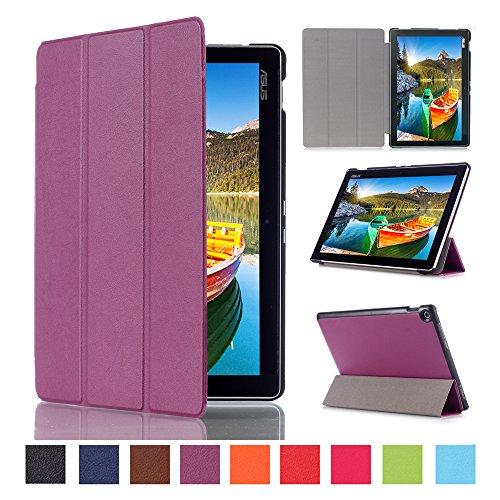 WindTeco ASUS ZenPad 10 Hülle, Ultra Dünn Leder Schutzhülle mit Auto Aufwachen/Schlaf Funktion für ASUS Zenpad 10 Z301MFL / Z2301ML / Z300M / Z300C / Z300CG / Z300CL Tablet, Violett