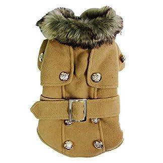 Pet Cat Dog Clothes European Woolen Fur Collar Coat Small Dog Cat Pet Clothes Costume Beige L 8