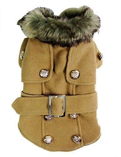 Pet Cat Dog Clothes European Woolen Fur Collar Coat Small Dog Cat Pet Clothes Costume Beige L 1
