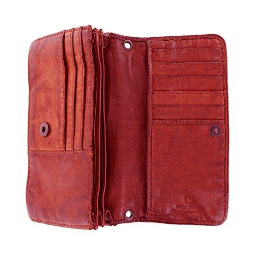 Bear Design Borsa a tracolla, portafoglio (17/ 10/ 3 cm) CL13995 intrecciato, in pelle lavata Rosso