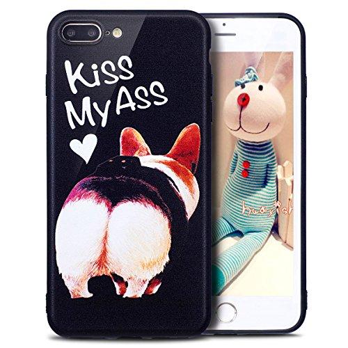 Coque iPhone 7 Plus, Étui iPhone 7 Plus, iPhone 7 Plus Case, ikasus® Coque iPhone 7 Plus Housse Papillon Panda Hibou Fleur Modèle Couleur peinte Doux TPU Silicone Étui Housse Téléphone Couverture TPU  Kiss my ass