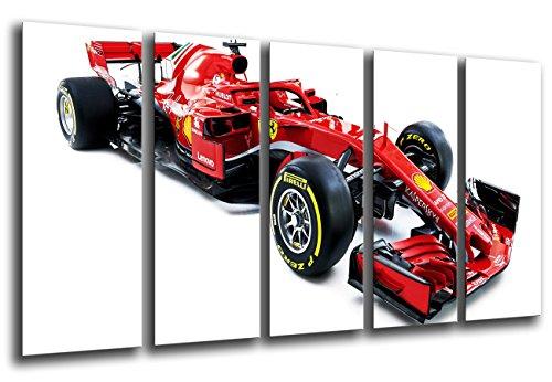 Quadro su Legno, Auto Formula 1, Ferrari F1 SF71-H, Ferrari F1 2018, Sebastian Vettel, Kimi Raikkonen, 165 x 62cm, Stampa in qualita Fotografica. Ref. 27115