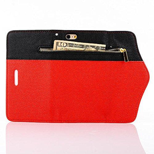 Custodia inShang cover per iPhone 6 4.7, Cover con Cerniera + build-in tasca , Supporto rigido per iphone6 Case in pelle PU, , + inShang Logo pennino di alta classe+ inShang Logo pennino di alta clas zipper red and black