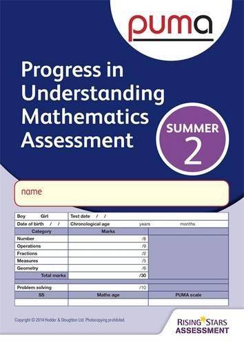 PUMA Test 2, Summer PK10 (Progress in Understanding Mathematics Assessment)