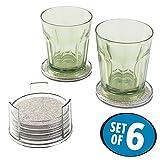 mDesign Bierdeckel – 6 runde Untersetzer für Gläser, Becher und Flaschen – mit praktischer Aufbewahrung – metallfarben, transparent