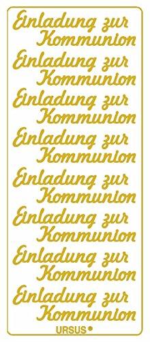 Ursus 59300084 - Kreativ Sticker, Einladung zur Kommunion, 5 Blatt, gold