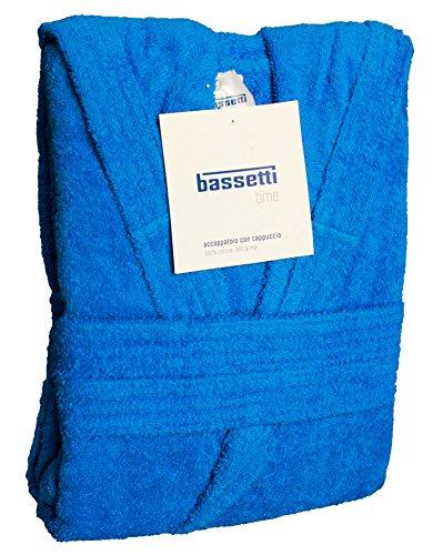 Accappatoio bassetti uomo donna con cappuccio taglia s - m - l - xl - xxl spugna di puro cotone 360gr/m² (xxl - 58 / 60, azzurro - 1365)